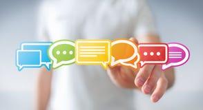 Homme d'affaires utilisant le rendu plat coloré des icônes 3D de conversation Image libre de droits