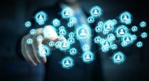 Homme d'affaires utilisant le rendu social de l'interface réseau 3D Images libres de droits
