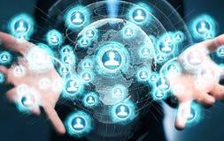Homme d'affaires utilisant le rendu social de l'interface réseau 3D Photographie stock
