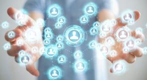 Homme d'affaires utilisant le rendu social de l'interface réseau 3D Images stock