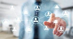 Homme d'affaires utilisant le rendu social de la connexion réseau 3D Photo stock
