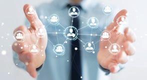 Homme d'affaires utilisant le rendu social de la connexion réseau 3D Images stock