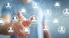 Homme d'affaires utilisant le rendu social de la connexion réseau 3D Image libre de droits