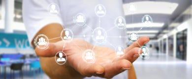Homme d'affaires utilisant le rendu social de la connexion réseau 3D Photos libres de droits