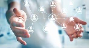 Homme d'affaires utilisant le rendu social de la connexion réseau 3D Image stock
