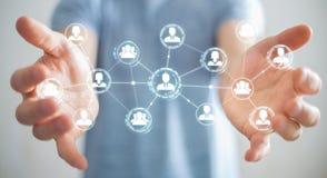 Homme d'affaires utilisant le rendu social de la connexion réseau 3D Photographie stock libre de droits