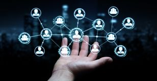 Homme d'affaires utilisant le rendu social de la connexion réseau 3D Images libres de droits