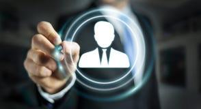 Homme d'affaires utilisant le rendu social numérique du réseau 3D Images stock