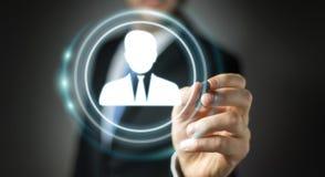 Homme d'affaires utilisant le rendu social numérique du réseau 3D Photos stock