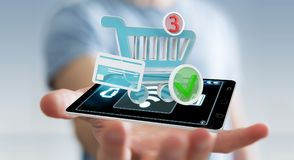 Homme d'affaires utilisant le rendu terminal sans contact du paiement 3D Image libre de droits