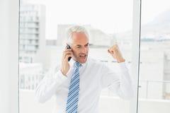 Homme d'affaires utilisant le téléphone portable tandis que poing de serrage image libre de droits