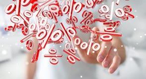 Homme d'affaires utilisant les ventes blanches et rouges pilotant le rendu des icônes 3D Photos libres de droits
