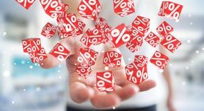Homme d'affaires utilisant les ventes blanches et rouges pilotant le rendu des icônes 3D Photo libre de droits