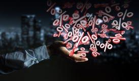 Homme d'affaires utilisant les ventes blanches et rouges pilotant le rendu des icônes 3D Images libres de droits