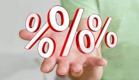 Homme d'affaires utilisant les ventes blanches et rouges pilotant le rendu des icônes 3D Images stock