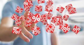 Homme d'affaires utilisant les ventes blanches et rouges pilotant le rendu des icônes 3D Photographie stock