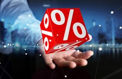 Homme d'affaires utilisant les ventes blanches et rouges pilotant le rendu des icônes 3D Photo stock