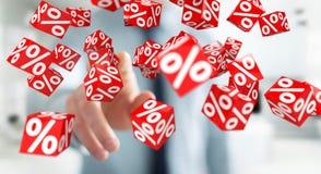 Homme d'affaires utilisant les ventes blanches et rouges pilotant le rendu des icônes 3D Image libre de droits