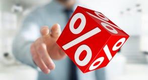 Homme d'affaires utilisant les ventes blanches et rouges pilotant le rendu des icônes 3D Image stock