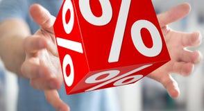 Homme d'affaires utilisant les ventes blanches et rouges pilotant le rendu des icônes 3D Photographie stock libre de droits