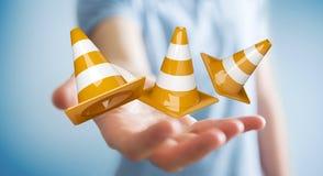 Homme d'affaires utilisant 3D numérique rendant les signes en construction Photo stock