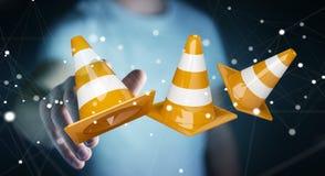 Homme d'affaires utilisant 3D numérique rendant les signes en construction Photo libre de droits