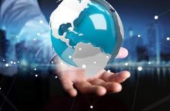 Homme d'affaires utilisant piloter la terre blanche et bleue du rendu 3D Images stock