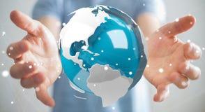 Homme d'affaires utilisant piloter la terre blanche et bleue du rendu 3D Image libre de droits