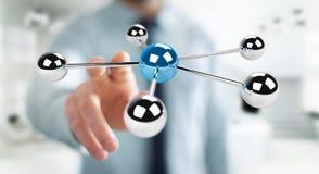 Homme d'affaires utilisant piloter le rendu du réseau 3D des sphères 3D Photographie stock libre de droits
