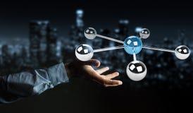 Homme d'affaires utilisant piloter le rendu du réseau 3D des sphères 3D Photos stock