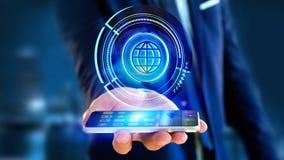 Homme d'affaires utilisant un smartphone avec un globe technologic b de Shinny Photographie stock