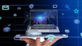 Homme d'affaires utilisant un smartphone avec un ordinateur entourant par AP Image stock