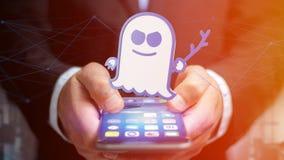 Homme d'affaires utilisant un smartphone avec une attaque W de processeur de spectre Images stock