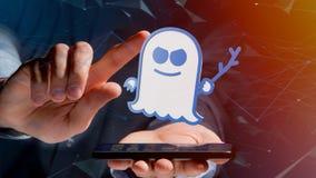 Homme d'affaires utilisant un smartphone avec une attaque W de processeur de spectre Image stock
