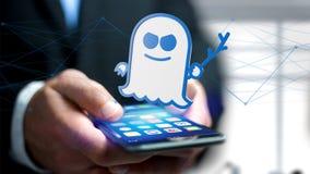Homme d'affaires utilisant un smartphone avec une attaque W de processeur de spectre Photo stock