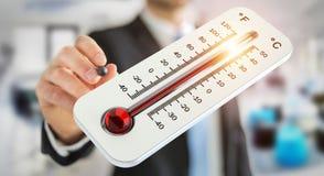 Homme d'affaires vérifiant le rendu de la hausse 3D de la température Photographie stock