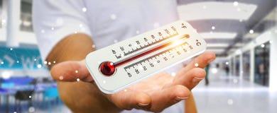 Homme d'affaires vérifiant le rendu de la hausse 3D de la température Images stock