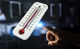 Homme d'affaires vérifiant le rendu de la hausse 3D de la température Image stock