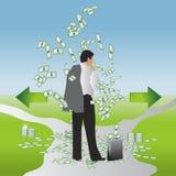 Homme d'affaires, valise d'argent Image stock