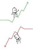 Homme d'affaires vers le haut et vers le bas Image libre de droits