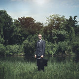 Homme d'affaires vert Environmental Conservation Strategy prévoyant C images libres de droits