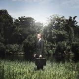 Homme d'affaires vert Environmental Conservation Strategy prévoyant C image libre de droits