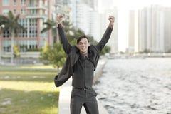 Homme d'affaires victorieux Images stock