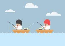 Homme d'affaires volant des poissons de son ami Image stock