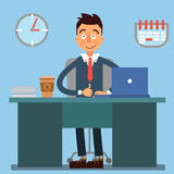 Homme d'affaires Working Day Homme d'affaires au travail blanc de bureau de durée de fond d'image 3d illustration libre de droits