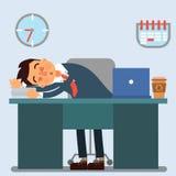 Homme d'affaires Working Day Homme d'affaires de sommeil au travail illustration libre de droits