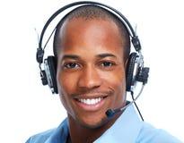 Homme d'afro-américain dans des casques Image libre de droits