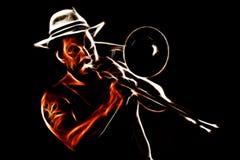 Homme d'Afro jouant le trombone Photos libres de droits
