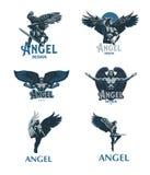 Homme d'ange blanc de vecteur d'isolement par ENV de 8 emblèmes illustration de vecteur