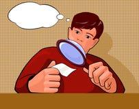 Homme d'art de bruit de bulle avec la loupe et une feuille de papier illustration libre de droits